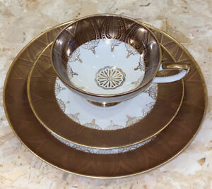 Vintage-Winterling-China-from-Bavaria-Germany-one-cup-saucer-plate-gold-trim