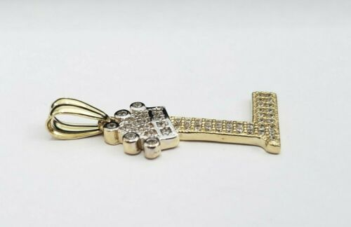 Real 14k Yellow Gold Crown Initial Alphabet Letter L Pendant Charm King Iced Out