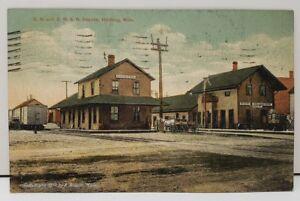 1910-G-N-and-D-M-amp-N-DEPOTS-Hibbing-Minn-Postcard-Hand-Colored-Railroad-HTF