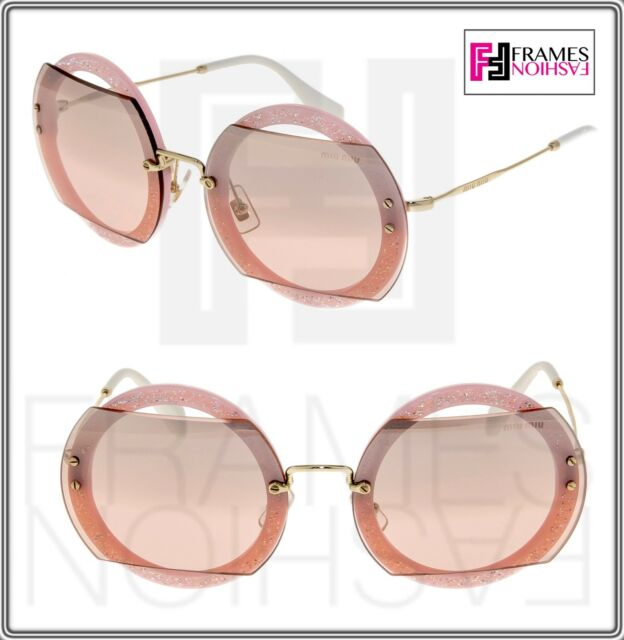 ce383f9ec500 Frequently bought together. MIU MIU REVEAL Glitter 06S Pink Crystal Pave  Round Mirrored Sunglasses MU06SS