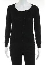 PHILIP LIM Black Wool Long Sleeve Button Side Cardigan Sweater Sz S RB629