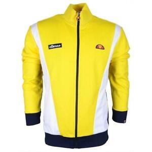 Ellesse-Mens-Track-Top-Jacket-Full-Zip-Vilas-Panel-Yellow-White-RRP-70-New