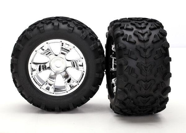 5674 Traxxas Geode Chrome Wheels & Tyres Pre-Glued E-Maxx E-Revo Summit T-Maxx