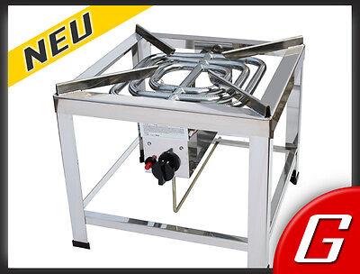 16 kW Edelstahl Profi Propan-Hockerkocher Gaskocher Gasherd Gasbrenner Turbo