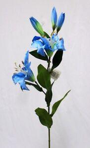 28 Tiger Lily Spray Turquoise Blue Silk Flowers Wedding