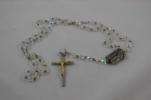 Vintage Crystal Prayer Beads Our Lady the Lourdes Rosary Italy