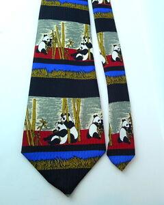 Panda-Bear-Bears-and-Bamboo-NEXT-Tie-Vintage-Polyester