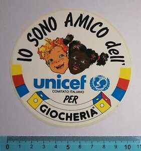 ADESIVO STICKER VINTAGE AUTOCOLLANT UNICEF PER GIOCHERIA ANNI'80 10x10 cm