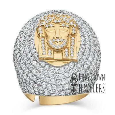 Mens Big Bold .33ct Genuine Real Diamond Sterling Silver Jesus Face Head Pendant