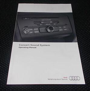 genuine audi concert radio sound system operating manual handbook ebay rh ebay co uk Audi Service Manuals Audi Coupe Manual