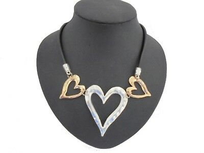 Chunky Beautiful Hammered Silver Gold Hearts Black Leather Cord Collar Necklace