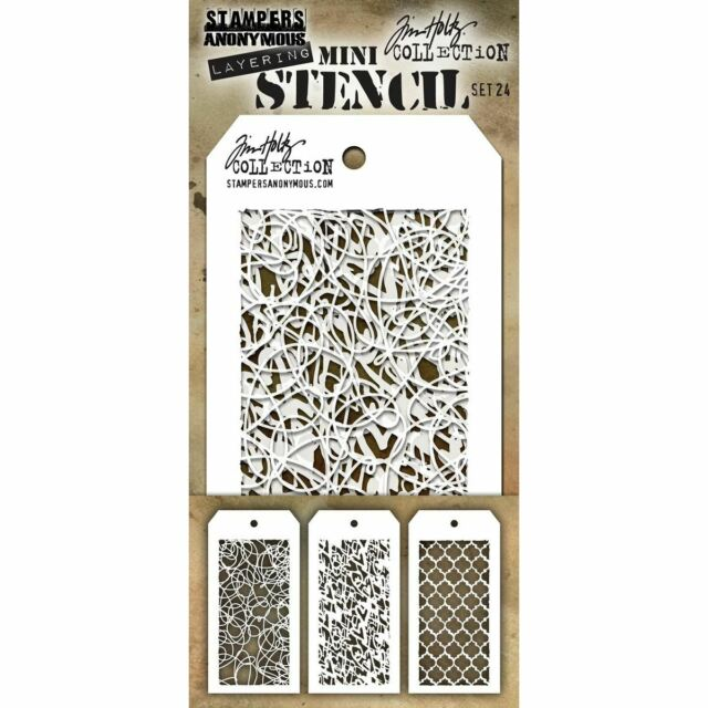 Tim Holtz Mini Layered Stencil Set 3/Pkg-Set #24 -MTS-24