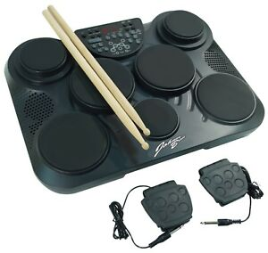 johnny brook electronic portable drum machine kit 7 drum pads 2 foot pedals 5021196778325 ebay. Black Bedroom Furniture Sets. Home Design Ideas