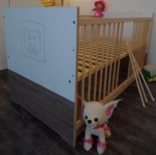 Babybett Gitterbett Komplett Kinderbett 70x140 UMBAUBAR  Weß-Braun//Cafe Gravur