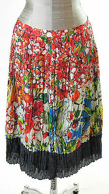 For Sale Skirt  Womens Multi Color Floral Pleated with black Hemline Size 8