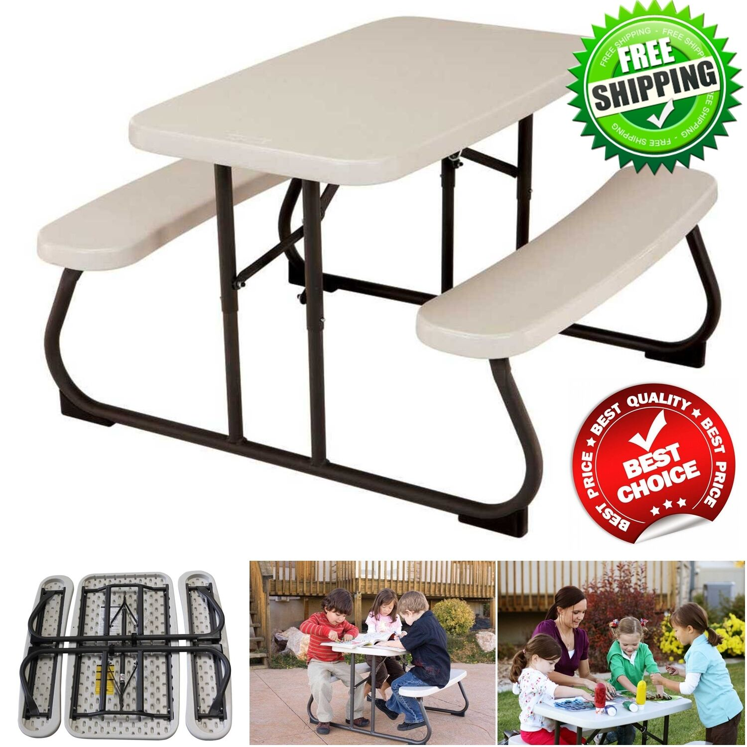 - Lifetime Kids Picnic Table Outdoor Patio Furniture Folding Bench