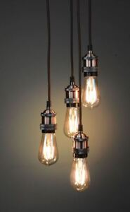 Details About Vintage Lighting Retro Type Copper 4 Light Pendants And Bulbs Ww