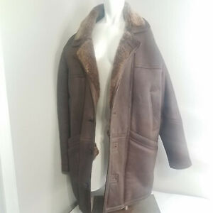 Original-Shearling-Mens-size-L-Coat-Heavy-Thick-Leather-Insulated