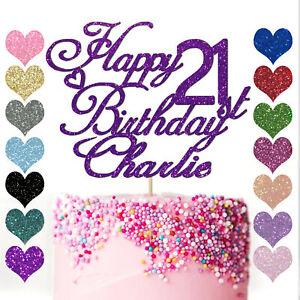 Personalised Happy Birthday Cake Topper Custom Glitter 13th 16th 18th 21st 30 40