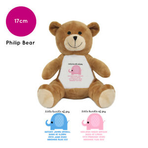Personalised Name New Baby Birth Newborn Child Philip Bear Soft Toy