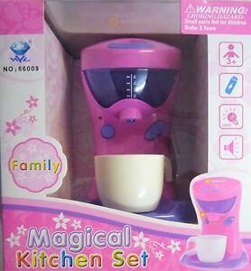Pink Toy Coffee Maker Machine. With light & Sound. Magical Kitchen Set Range.