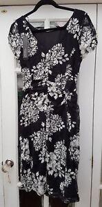 BNWT-Roman-Originals-Black-Cream-Stretch-Floral-Lace-Occasion-Dress-UK-12