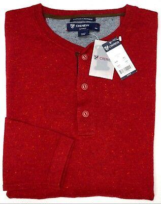 NWT $150 Cremieux Red Cotton Cashmere Blend Henley Sweater Mens M L XL XXL NEW