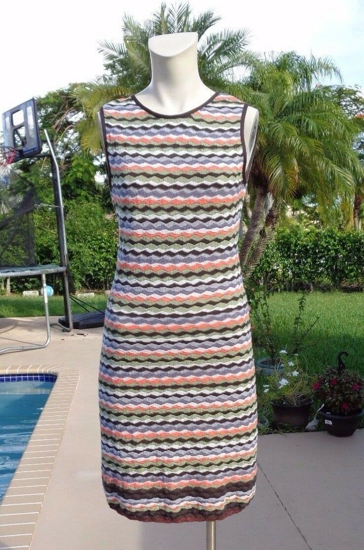 M MISSONI MULTI COLOR KNIT SLEEVELESS STRETCH DRESS Sz 46 MADE IN ITALY