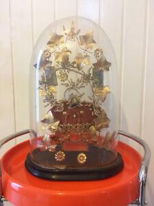 Ancien-Globe-de-Mariee-Napoleon-III-complet-avec-garniture-et-coussin-miroirs