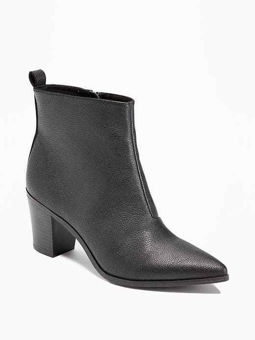 Old Navy Women Ankle Boot Bootie 6 8 Black Faux Leather Pointy Stacked Heel New