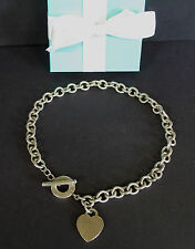 """Tiffany & Co Sterling Silver Heart Tag Toggle Necklace 16 1/4"""" 74g Box"""