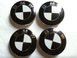 4-BMW-Cache-Moyeu-Jante-Centre-De-Roue-68mm-Embleme-Insigne-NOIR-BLANC