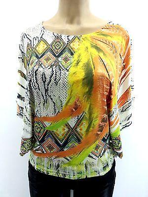 SUBLIMATION Top Multicolor Crochet Vibrant Color Aztec Print Dolmen Batwing
