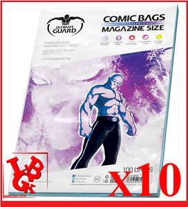 Pochettes Protection MAGAZINE Size comics x 10 Ultimate Guard Bags  # NEUF #