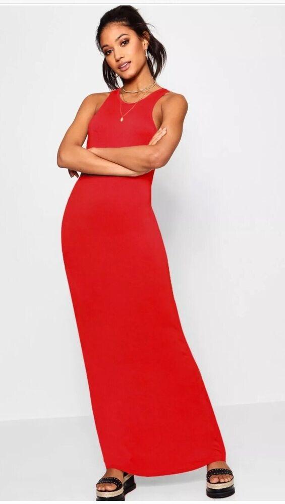 Copieux Rouge Robe Longue 14 Bnwt Boohoo Moulante Robe Longue Uk 14 Pour Convenir à La Commodité Des Gens