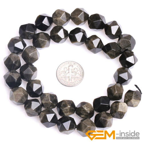 Natural Gemstone Gold Obsidian Polygonal Faceted Round Beads For Jewelry Making