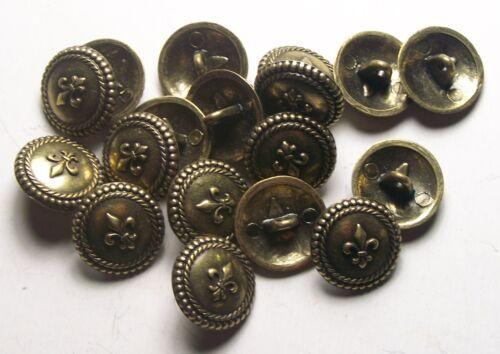 Pack of 8 16mm fleur de lis Antique Gold Metal Military style Button   2009