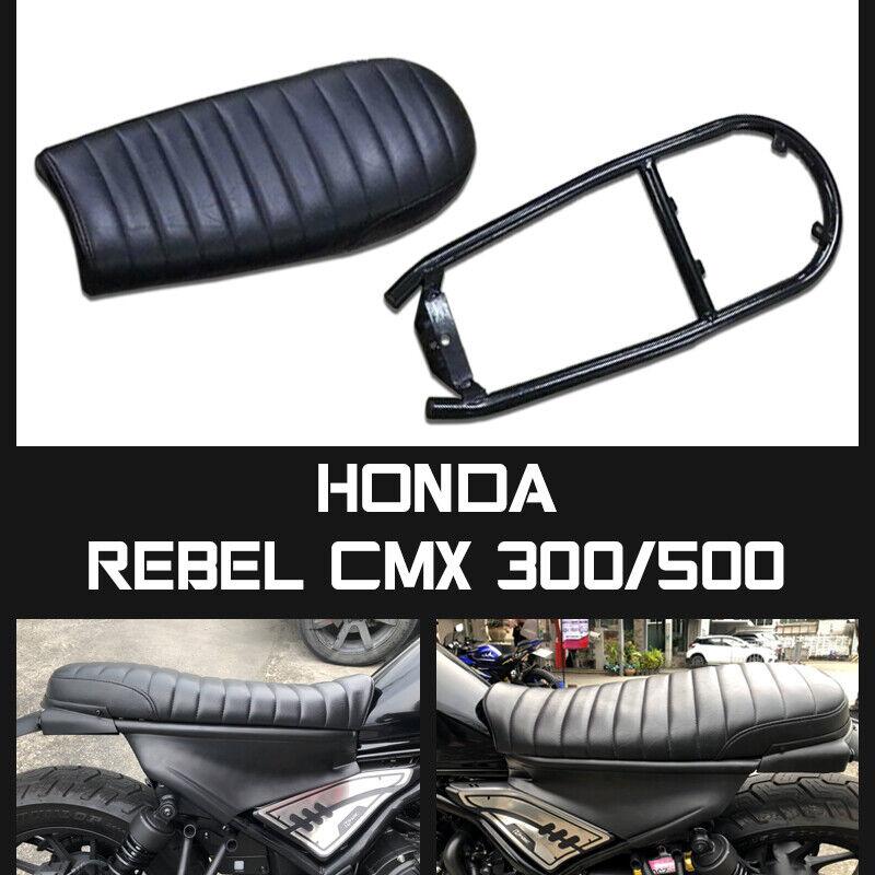 Honda Rebel Cmx 300 500 17-18-2019 Cafe Cojín del Asiento Scrambler Negro Suave 1 Set