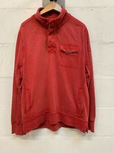 FAT-FACE-Sweatshirt-Size-Medium-M-Button-Neck-Mens-Pullover-Jumper-Red-Loose-Fit