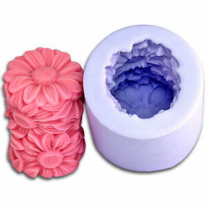 Flower-Cylinder-3D-Silicone-Candle-DIY-Mold-Handmade-Craft-Art-Gift-Soap-Moulds