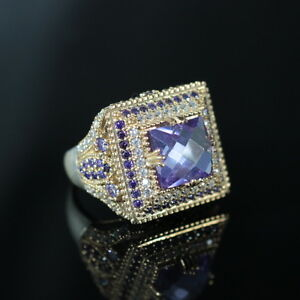 925-Sterling-Silver-Handmade-Authentic-Turkish-Amethyst-Ladies-Ring-Size-9