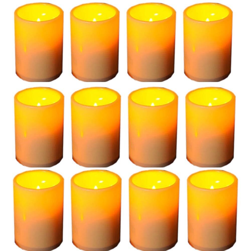 12x IndoorOutdoor Resin Pillar Flameless LED Candle Lights with 4 & 8 Hour Timer