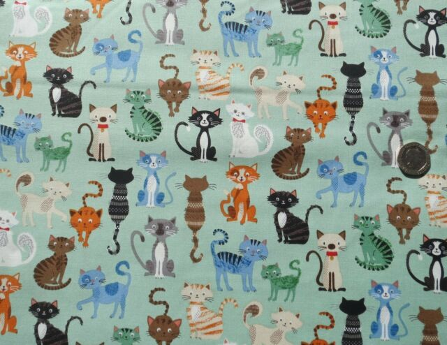 Crafty Cats Crowd on teal fabric 90cm x 112cm Makower MK1724T 100% Cotton