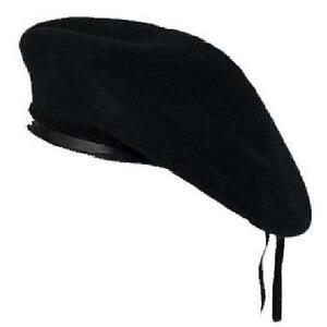 NEW-BLACK-WOOL-MENS-LADIES-BERET-CAP-HAT-ARMY-MILITARY-FANCY-DRESS-TACTICAL