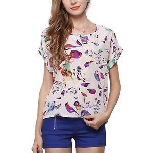 e8aa333c1cc Women Summer Short Sleeve T-shirt Loose Chiffon Print Round Neck ...