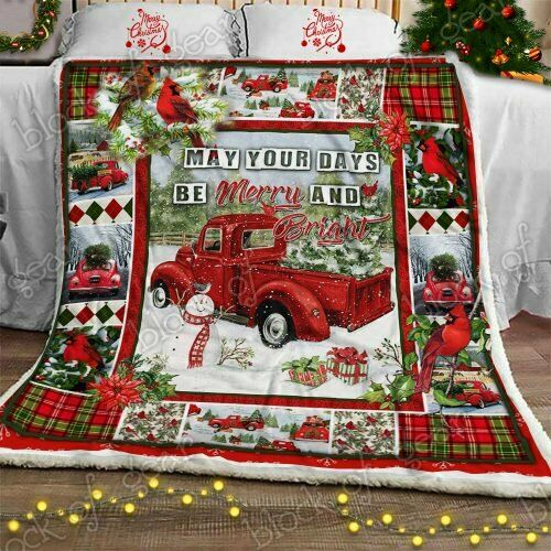 Christmas Red Truck Snowy Cardinals Sofa Fleece Blanket 50-80 Made In US
