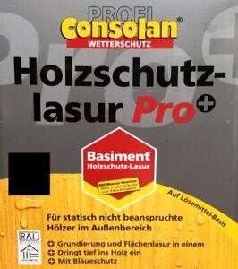 €8/L Consolan HSL Pro+ Holzschutzlasur Lasur 5 Liter Ebenholz Holz Lasur
