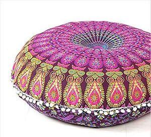 Mandala Pouf Ottoman Pom Round Outdoor Cushion Cover Boho Yoga Pillow Ebay