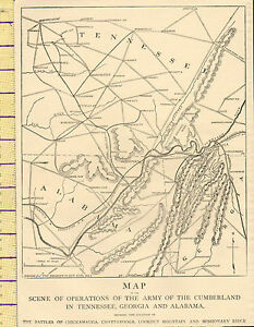 c1890 MAP ~ SCENE OF OPERATIONS OF THE ARMY OF THE CUMBERLAND IN TENNESSEE