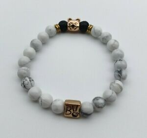 Buena Vida Marble Natural Stones Bracelet With Bear Charm